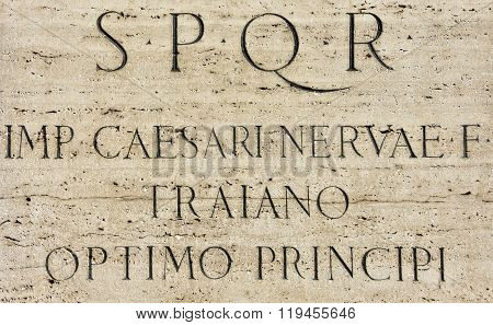 Latin Inscription Of Roman Emperor Trajan