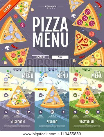 Flat Style Pizza Menu Concept Web Site Design. Corporate Identity.