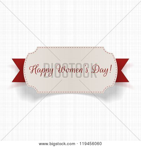 International Womens Day greeting Card with Ribbon