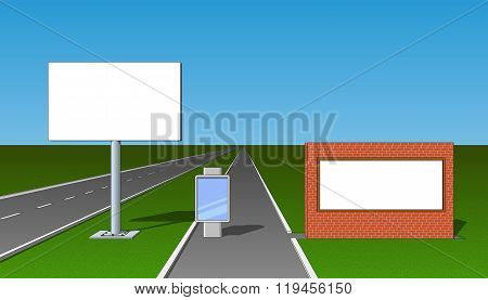 Billboard Advertising Board Poster Placard Banner Front View Set
