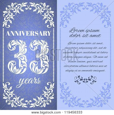 Luxury Template With Floral Frame And A Decorative Pattern For The 33 Years Anniversary. There Is A
