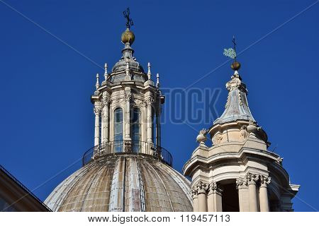 Baroque Spires And Roof Lantern In Rome