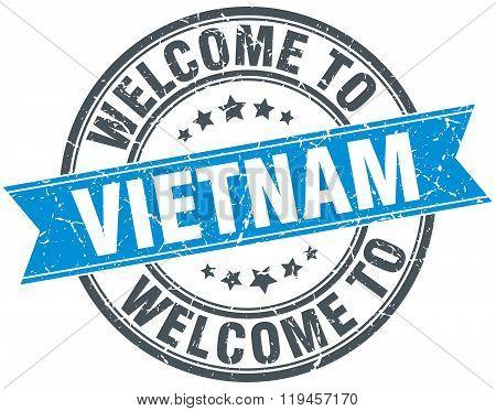 welcome to Vietnam blue round vintage stamp