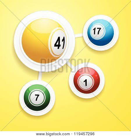 Bingo Balls On Circular White Frames