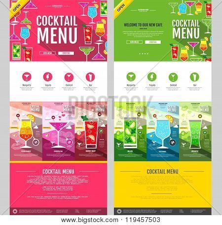 Flat Style Cocktail Menu Concept Web Site Design. Corporate Identity.