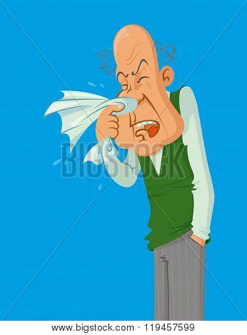 Sneezes Older Man