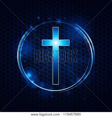 Cross Over Mesh Glowing Circle