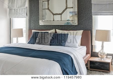 Bedroom Design With Blue And White Color Tone