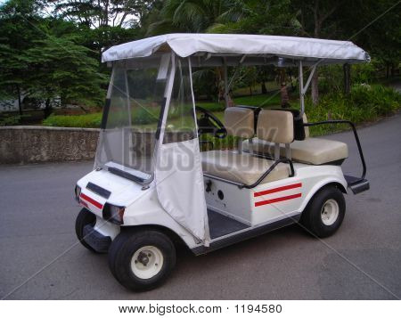 White Golf Buggy