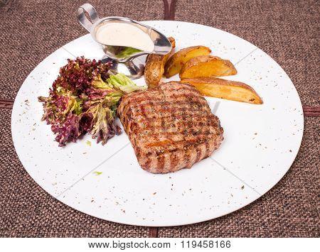 Traditional New York strip steak.
