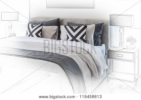 Sketch Design Of Modern Bedroom With White Bed And Black Lamp