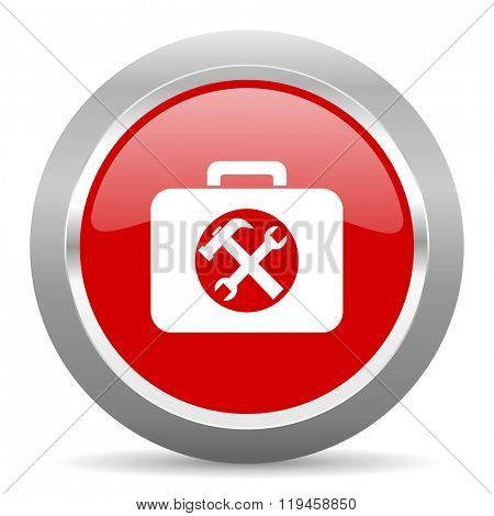 toolkit red chrome web circle glossy icon