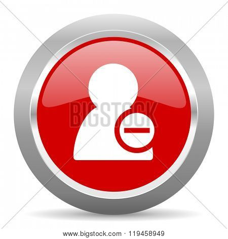 remove contact red chrome web circle glossy icon