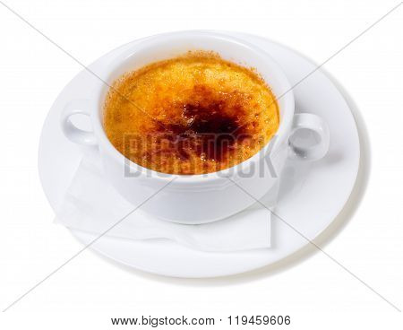 Traditional catalonian cream brulee.