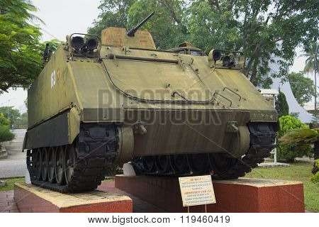 American tracked armored personnel carrier M113 at the Museum 5 militarized zone. Da Nang, Vietnam