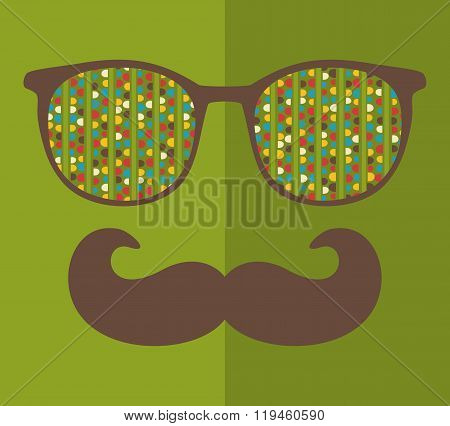 Abstract portrait of retro man in sunglasses with moustache.
