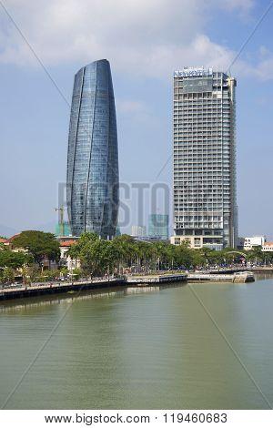 Two modern high-rise buildings in da Nang. Vietnam