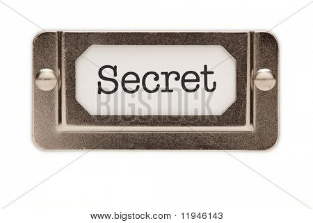 Secret File Drawer Label Isolated on a White Background.