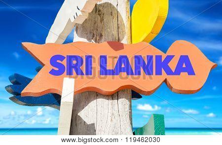 Sri Lanka welcome sign with beach