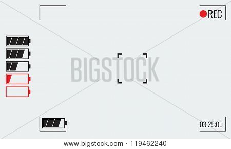 Focusing screen of the camera. Viewfinder camera recording. Vector graphic