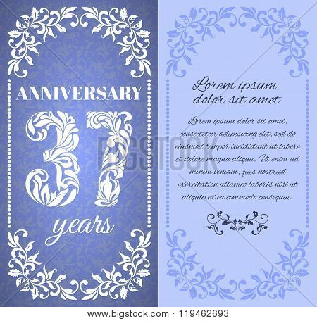 Luxury Template With Floral Frame And A Decorative Pattern For The 37 Years Anniversary. There Is A