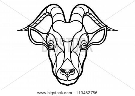 Goat head coloring silhouette on white background
