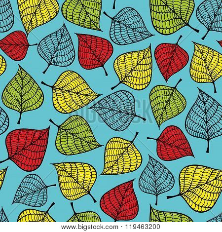 Colorful seamless pattern with leaves on blue background.