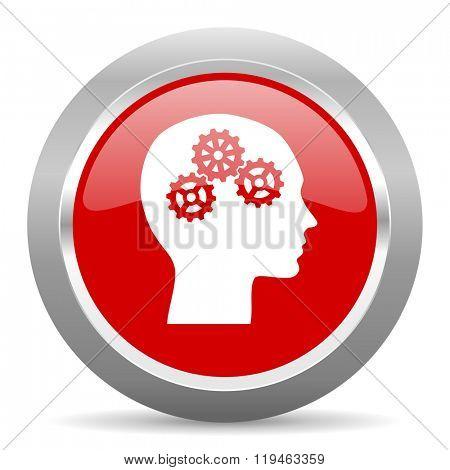 head red chrome web circle glossy icon