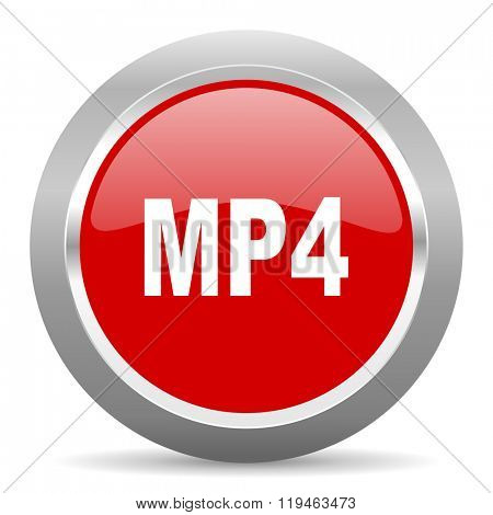 mp4 red chrome web circle glossy icon