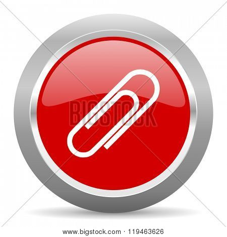 paperclip red chrome web circle glossy icon