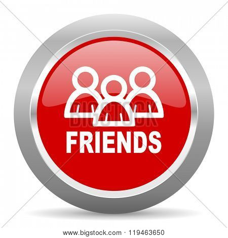 friends red chrome web circle glossy icon
