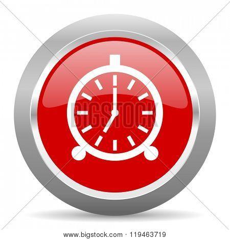 alarm red chrome web circle glossy icon