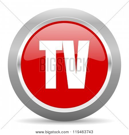 tv red chrome web circle glossy icon