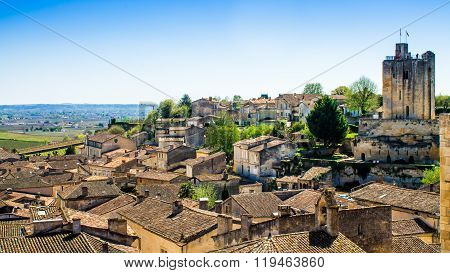 Panoramic View Of Saint-emilion Near Bordeaux, France