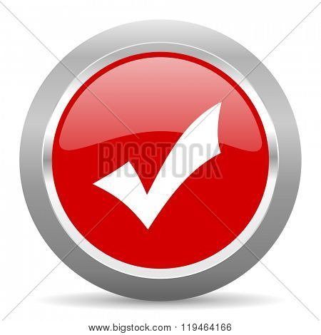 accept red chrome web circle glossy icon