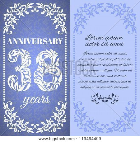 Luxury Template With Floral Frame And A Decorative Pattern For The 38 Years Anniversary. There Is A