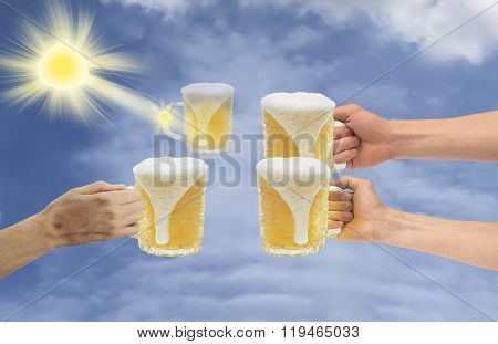 Four Cups Of Foam Lager, Three Of Which Are In Human Hands, As One Holds In Its Rays The Sun.