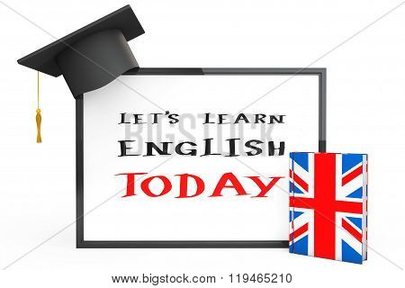 English Learning Concept. Graduation Cap, Chalkboard And English Grammar Book