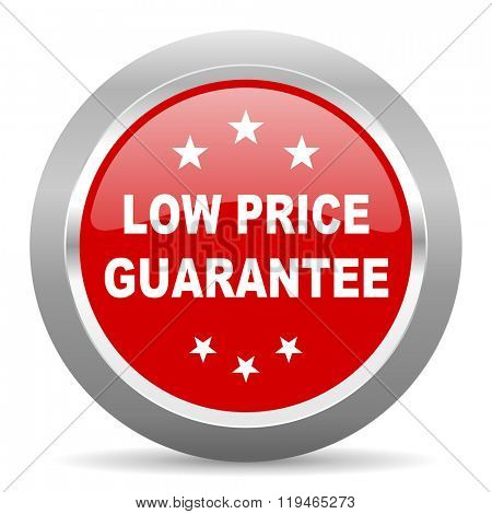 low price guarantee red chrome web circle glossy icon