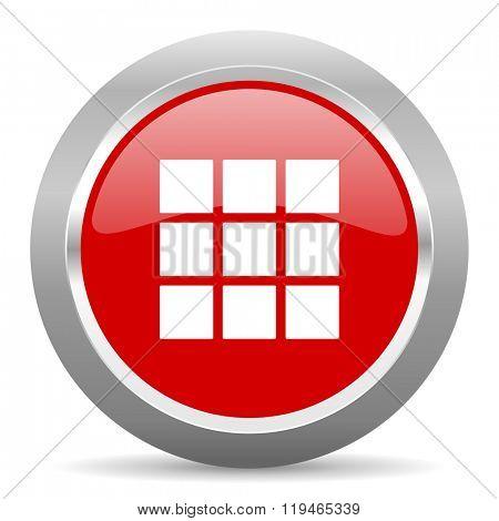 thumbnails grid red chrome web circle glossy icon
