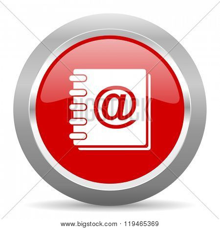 address book red chrome web circle glossy icon