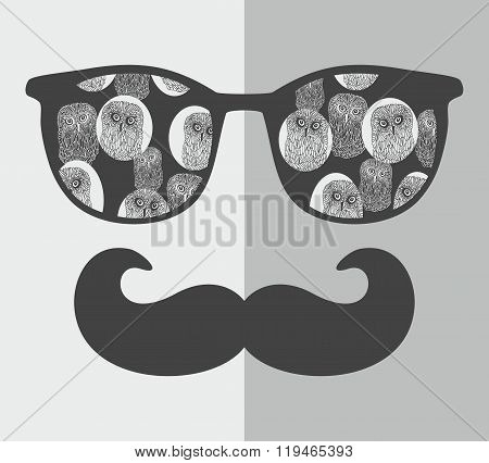 Abstract portrait of man in sunglasses with moustache.