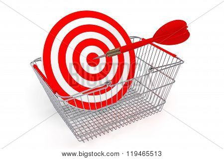 Shopping Basket With Target As Darts