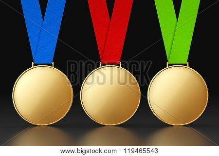 Blank Gold Medals With Multicolour Ribbons