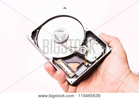 hand with hard disk isolated on white background