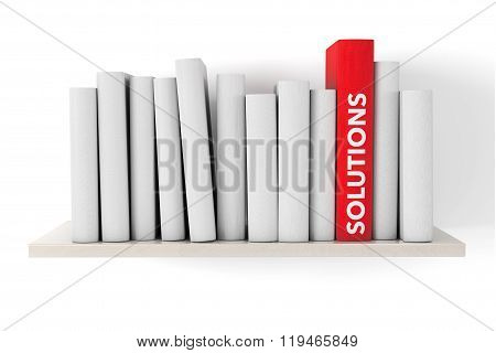 Red Solutions Book On A Shelf With Another Blank Books