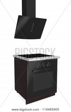 Induction Cooker And Glass Oven With Aspirator
