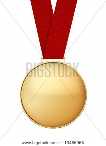 Blank Gold Medal With Red Ribbon