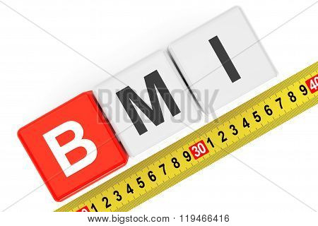 Body Mass Index Concept. Bmi Cubes With Measuring Tape