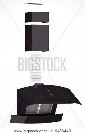Modern Black Cooker Hood